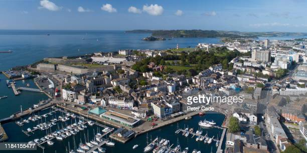 areal view of a marina in plymouth, devon - passenger craft stock pictures, royalty-free photos & images