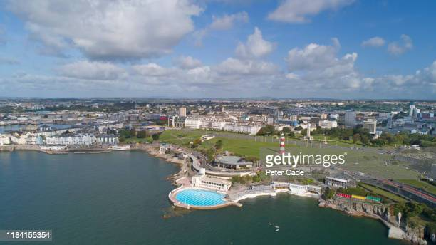 areal view of plymouth waterfront and lido - {{ contactusnotification.cta }} stock pictures, royalty-free photos & images
