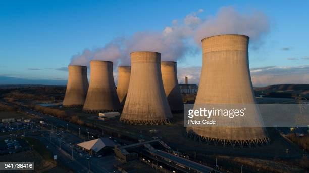 areal view of power station - cooling tower stock pictures, royalty-free photos & images