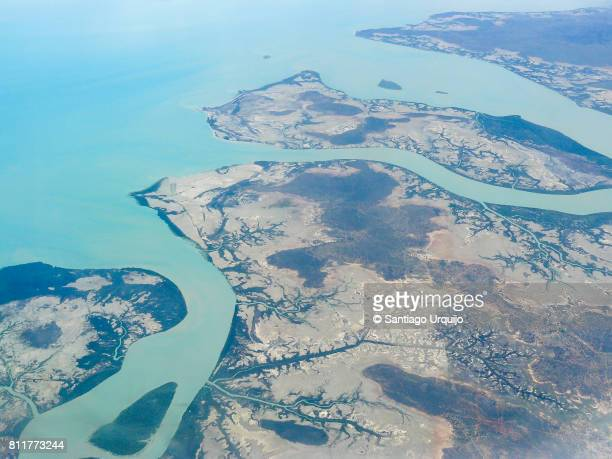 areal view of whitsunday island - whitehaven beach stock photos and pictures