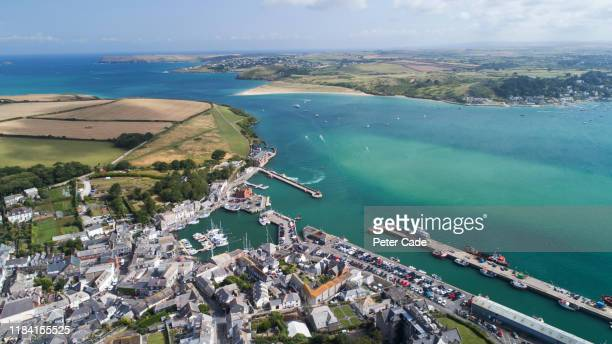 areal view or coastal village in cornwall - estuary stock pictures, royalty-free photos & images