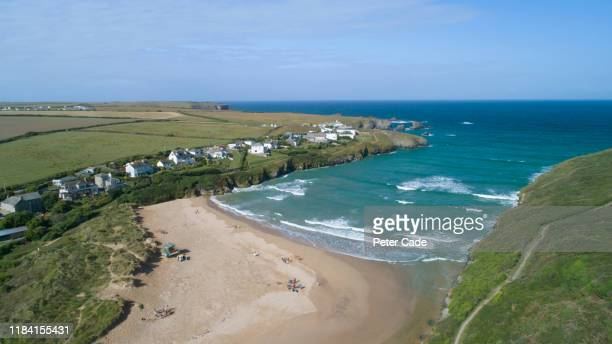 areal view or porscothan beach, cornwall - {{ contactusnotification.cta }} stock pictures, royalty-free photos & images