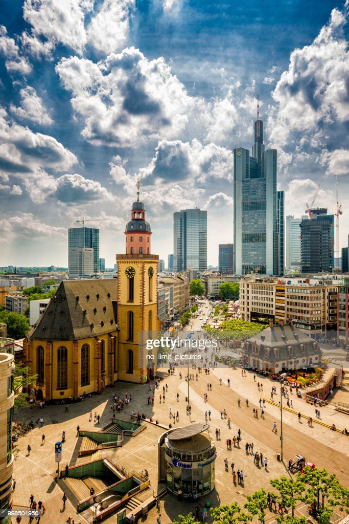 areal view over Frankfurt : Stock Photo