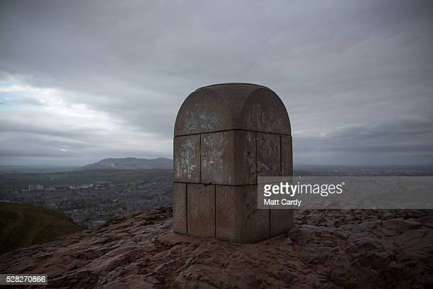 Areas of Edinburgh are viewed from Arthur's Seat in Holyrood Park on May 4 2016 in Edinburgh Scotland As campaigning for the Holyrood election enters...