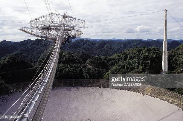 Arecibo the largest radio telescope in the world located in Puerto Rico in restoration in February 1996
