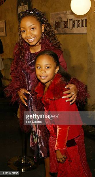 Aree Davis and sister Dee Dee during 'The Haunted Mansion' World Premiere Red Carpet at El Capitan Theatre in Hollywood California United States