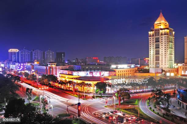 areial view of downtown guzhen in zhongshan. - zhongshan stock-fotos und bilder