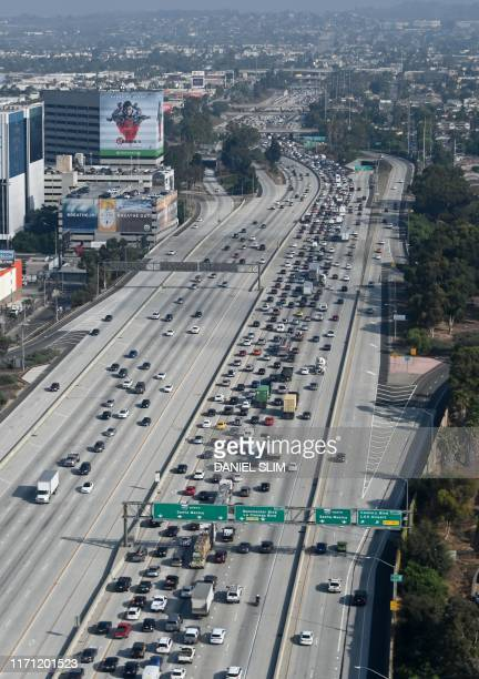 Areial view of the 405 freeway in Los Angeles on September 25, 2019.