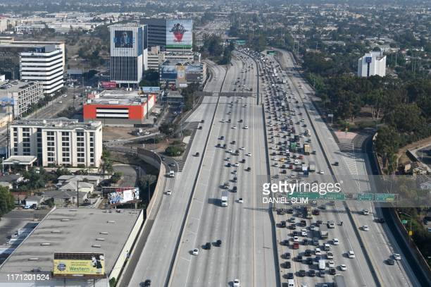 Areial view of the 405 freeway in Los Angeles on September 25 2019