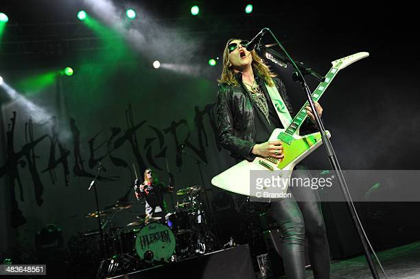 Arejay Hale and Lizzy Hale of Halestorm perform on stage at The Forum on April 9 2014 in London United Kingdom