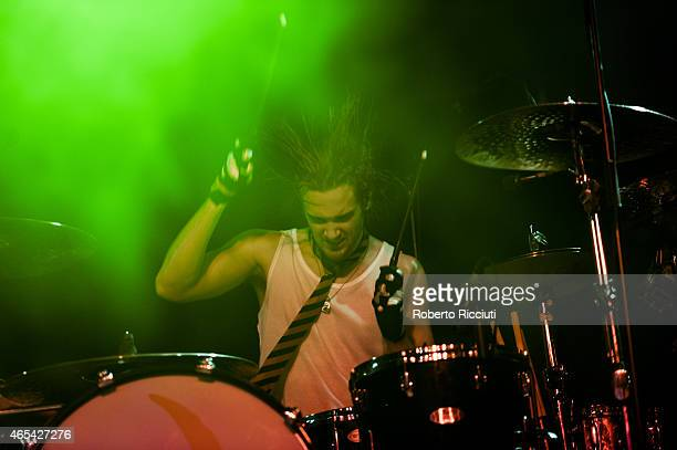 Arejay Hale of Halestorm performs on stage at Barrowlands Ballroom on March 6, 2015 in Glasgow, United Kingdom.