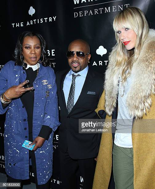 Arell Hughes Jermaine Dupri and April Roomet attend the Wardrobe Department LA grand opening at Wardrobe Department on December 17 2015 in Los...