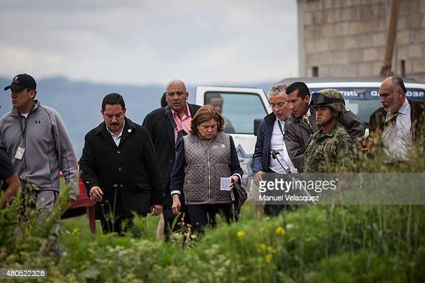 Arelly Gomez General Attorney of Mexico walks during an operation on the surroundings of Mexican Maximum Security Prison of 'El Altiplano' after te...