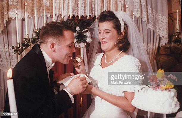 Aren Almon mother of 1yrold Baylee killed in terrorist bombing of Alfred P Murrah Federal Building feeding piece of wedding cake to her groom Stan...