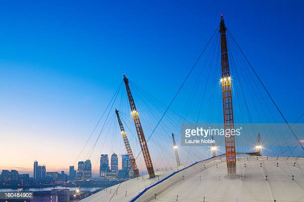 O2 Arena and Canary Wharf illuminated at dusk