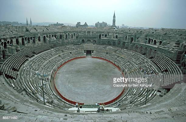 arena in nimes - nimes stock pictures, royalty-free photos & images