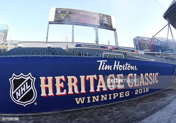 Arena signage in advance of the 2016 Tim Hortons NHL Heritage Classic alumni game at Investors Group Field on October 22 2016 in Winnipeg Canada