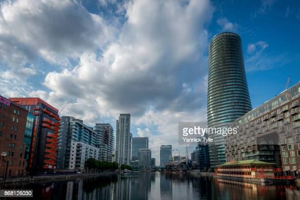 arena tower in canary wharf - classical mythology character stock photos and pictures