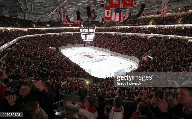 Arena was sold out for the Carolina Hurricanes versus the Boston Bruins in Game Three of the Eastern Conference Third Round during the 2019 NHL...