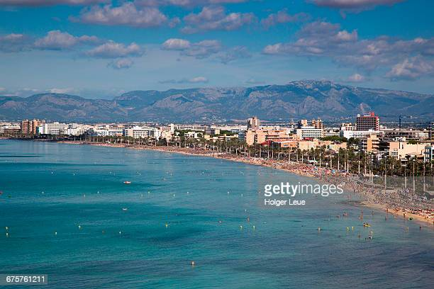 arenal beach seen from whala beach hotel - majorca stock pictures, royalty-free photos & images