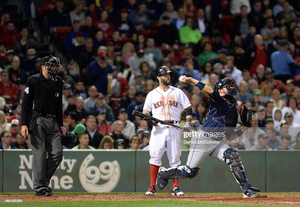 J.P Arencibia #40 of the Tampa Bay Rays fires the ball to second base in the third inning against the Boston Red Sox at Fenway Park on September 21, 2015 in Boston, Massachusetts.