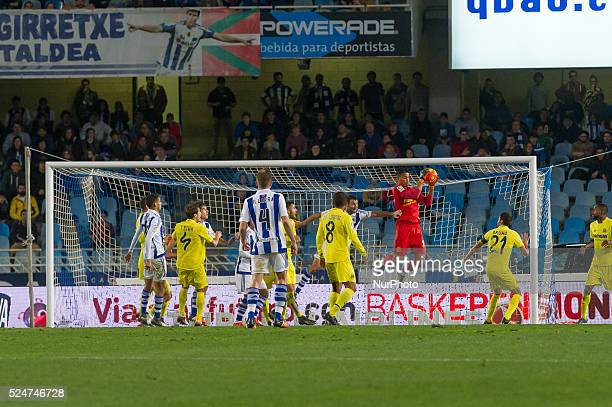 Areola controls the ball during the Spanish BBVA league football match Real Sociedad vs Villarreal at the Anoeta Stadium in San Sebastian on December...