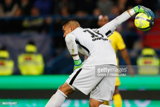 Areola handles the ball during the French L1 football match between Caen and Paris on May 19 at the Michel d'Ornano stadium in Caen northwestern...