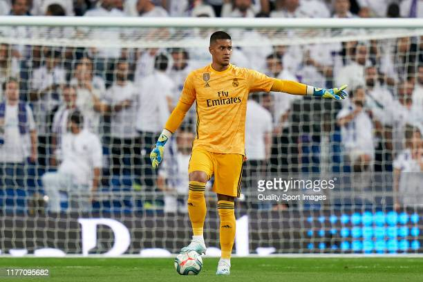 Areola of Real Madrid CF controls the ball during the Liga match between Real Madrid CF and CA Osasuna at Estadio Santiago Bernabeu on September 25...