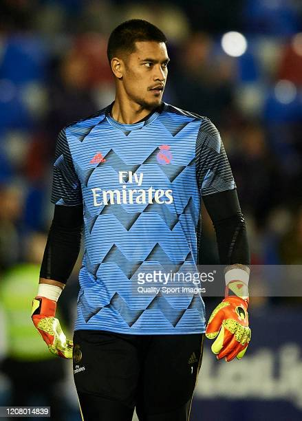 Areola of Real Madrid CF warms up prior the Liga match between Levante UD and Real Madrid CF at Ciutat de Valencia on February 22 2020 in Valencia...