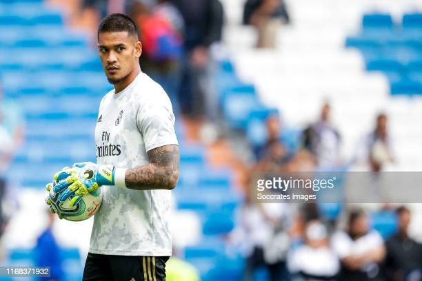 Areola of Real Madrid during the La Liga Santander match between Real Madrid v Levante at the Santiago Bernabeu on September 14 2019 in Madrid Spain