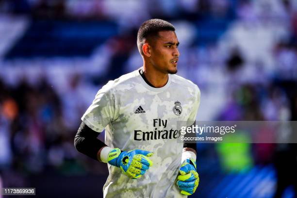 Areola of Real Madrid during the La Liga Santander match between Real Madrid v Granada at the Santiago Bernabeu on October 5 2019 in Madrid Spain