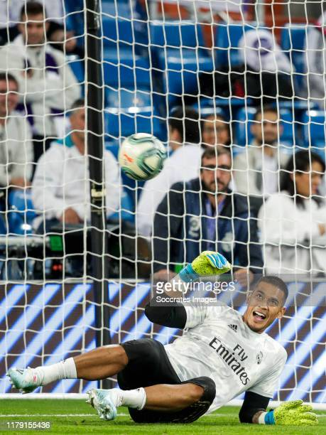 Areola of Real Madrid during the La Liga Santander match between Real Madrid v Leganes at the Santiago Bernabeu on October 30 2019 in Madrid Spain