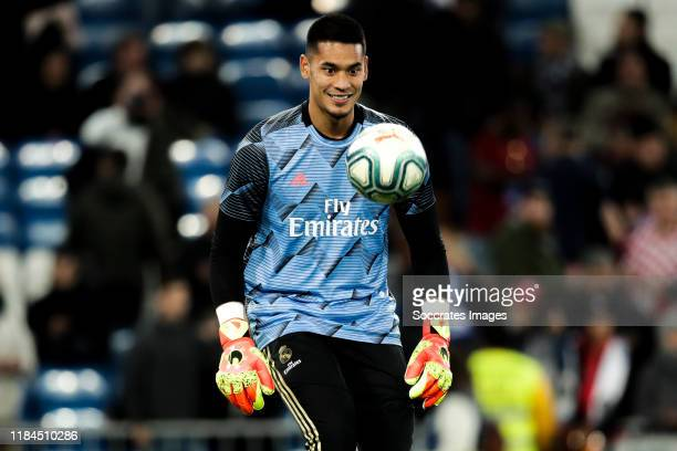 Areola of Real Madrid during the La Liga Santander match between Real Madrid v Real Sociedad at the Santiago Bernabeu on November 23 2019 in Madrid...