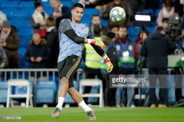 Areola of Real Madrid during the La Liga Santander match between Real Madrid v Athletic de Bilbao at the Santiago Bernabeu on December 22 2019 in...