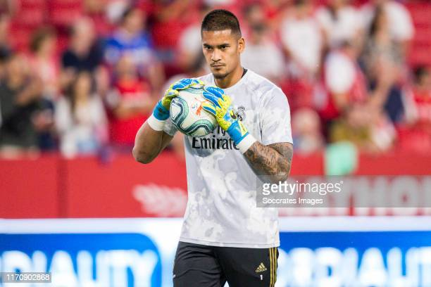 Areola of Real Madrid during the La Liga Santander match between Sevilla v Real Madrid at the Estadio Ramon Sanchez Pizjuan on September 22 2019 in...