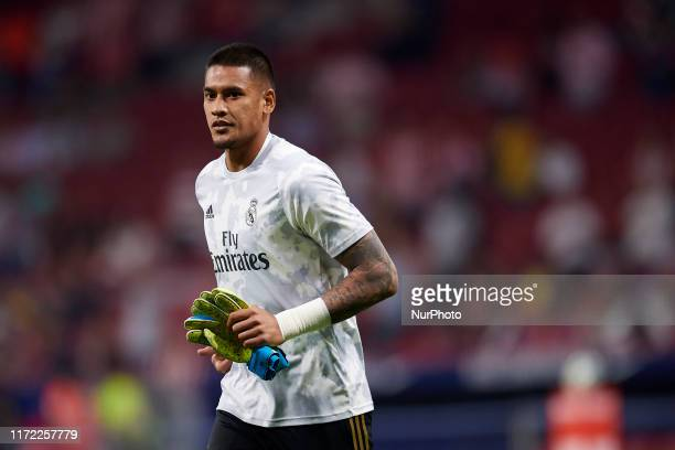 Areola of Real Madrid during the warmup before the Liga match between Club Atletico de Madrid and Real Madrid CF at Wanda Metropolitano on September...
