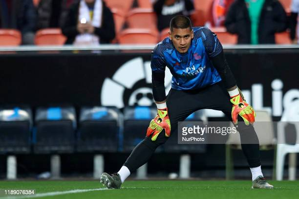 Areola of Real Madrid during the warmup before the Liga match between Valencia CF and Real Madrid CF at Estadio Mestalla on December 15 2019 in...