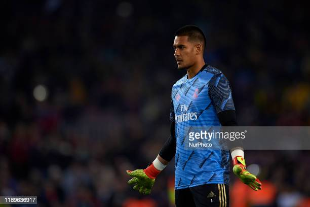 Areola of Real Madrid during the warm-up before the Liga match between FC Barcelona and Real Madrid CF at Camp Nou on October 26, 2019 in Barcelona,...