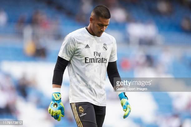 Areola of Real Madrid looks on prior to the Liga match between Real Madrid CF and Granada CF at Estadio Santiago Bernabeu on October 05 2019 in...