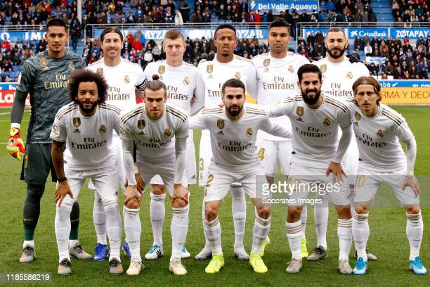 Areola of Real Madrid Marcelo of Real Madrid Sergio Ramos of Real Madrid Gareth Bale of Real Madrid Toni Kroos of Real Madrid Eder Militao of Real...