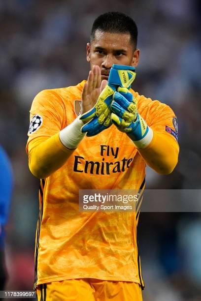 Areola of Real Madrid salutes de fans at the end of the UEFA Champions League group A match between Real Madrid and Club Brugge KV at Bernabeu on...