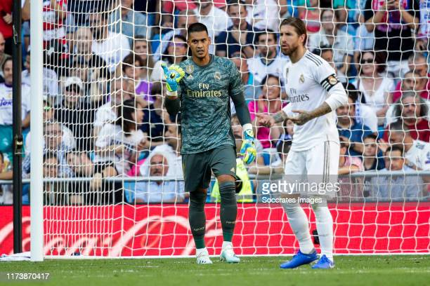 Areola of Real Madrid Sergio Ramos of Real Madrid during the La Liga Santander match between Real Madrid v Granada at the Santiago Bernabeu on...