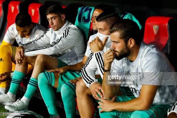 Areola of Real Madrid Valverde of Real Madrid Lucas Vazquez of Real Madrid Jovic of Real Madrid Nacho of Real Madrid during the La Liga Santander...