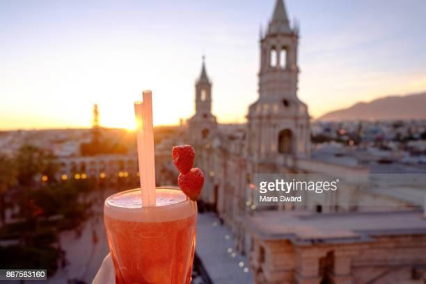 Arequipa - Basilica Cathedral of Arequipa at Sunset with Strawberry Milkshake