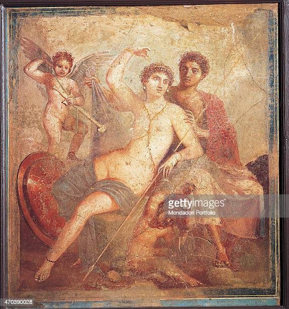 'Ares and Aphrodite by unknown artist 4579 1st Century AD ripped fresco 99 x 90 cm Italy Campania Naples National Archaeological Museum Room LXXIII...