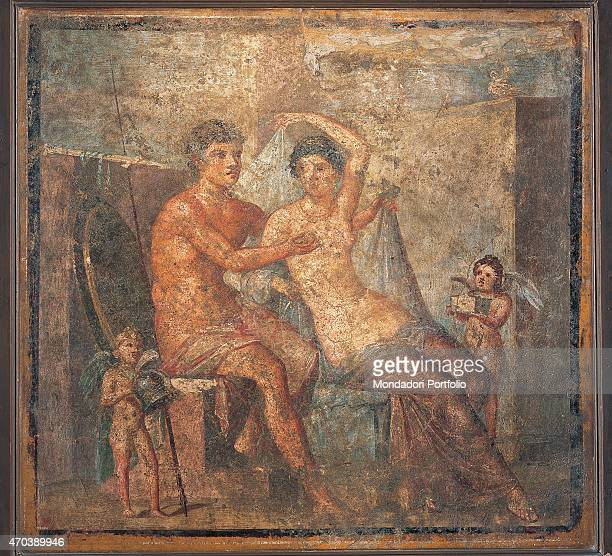 'Ares and Aphrodites by unknown artist 6279 1st Century AD ripped fresco 96 x 91 cm Italy Campania Naples National Archaeological Museum Room LXXII...