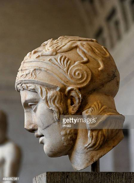 Mars Head of a statue of Ares Roman sculpture after original of about 430 BC Glytothek Munich