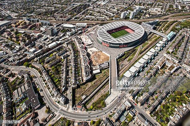 aresenal stadium from the air - stadium stock pictures, royalty-free photos & images