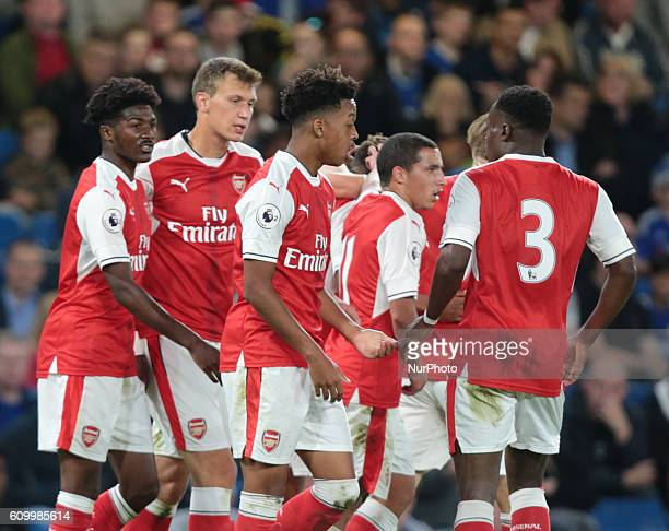 Aresnal's U23s Reiss Nelson celebrates his goal during Premier League 2match between Chelsea and Arsenal at the Stamford Bridge London England on 23...