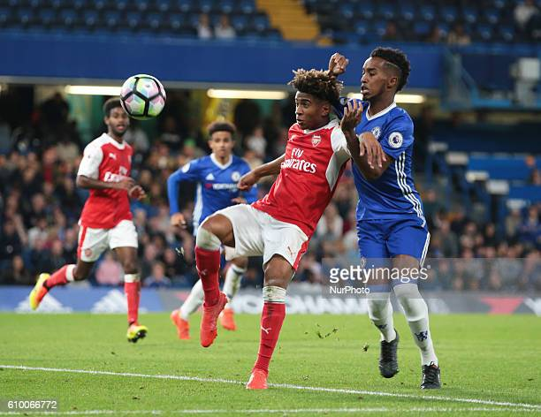 Aresnal's U23s Reiss Nelson holds of Chelsea Under 23s Mukhtar Ali during Premier League 2match between Chelsea and Arsenal at the Stamford Bridge...